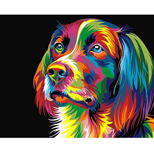 Paint By Number Kits For Adults Kids - Animal Abstract Dog 16X20 Inch Linen Canvas Within Wooden Frame