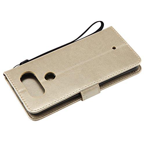 Funda LG Q8, SsHhUu Funda PU Piel Genuino [Ranuras para Tarjetas] [Cierre Magnetico] con Lápiz óptico + Acollador para LG Q8 / H970 (5.2) Café Oro