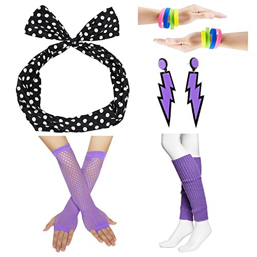 80s Fancy Outfit Costume Accessories Set,Leg Warmers,Fishnet Gloves,Earrings, Headband, Bracelet and Beads (OneSize, -