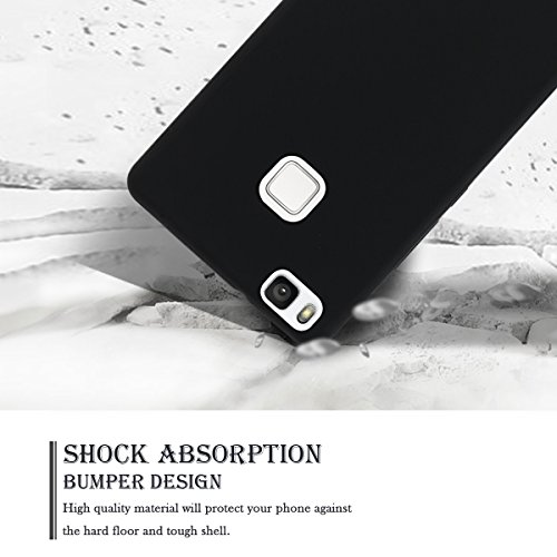 Funda Huawei P9 Lite, SpiritSun Soft Carcasa Funda Diseño Mate Opaco Ultrafina TPU Bumper para Huawei P9 Lite (5.2 pulgadas) Suave Silicona Piel Carcasa Ultra Delgado y Ligero Goma Flexible Anti-araña Negro