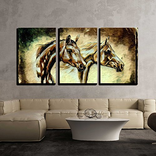 wall26 - 3 Piece Canvas Wall Art - Illustration - Freehand Illustration Horse Painting - Modern Home Decor Stretched and Framed Ready to Hang - 24