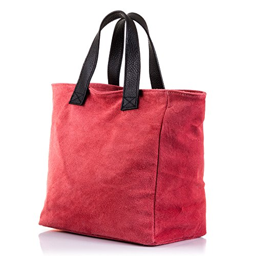 FIRENZE ARTEGIANI.Bolso de mujer piel auténtica.Bolso TOTE cuero genuino.Acabado GAMUZA con extrella purpurina diseño exclusivo. MADE IN ITALY. VERA PELLE ITALIANA. 24x23,5x14 cm. Color: ROSA