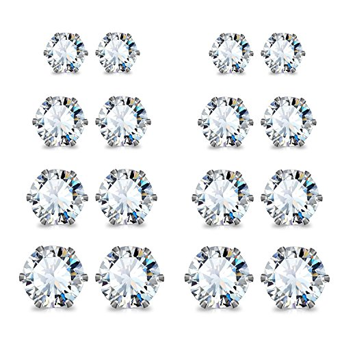 JewelrieShop Stainless Steel Cubic Zirconia Studs Earrings Round Ball Earrings Faux Pearl Earrings Set Hypoallergenic for Women Girls (8 Pairs / 18 pairs)