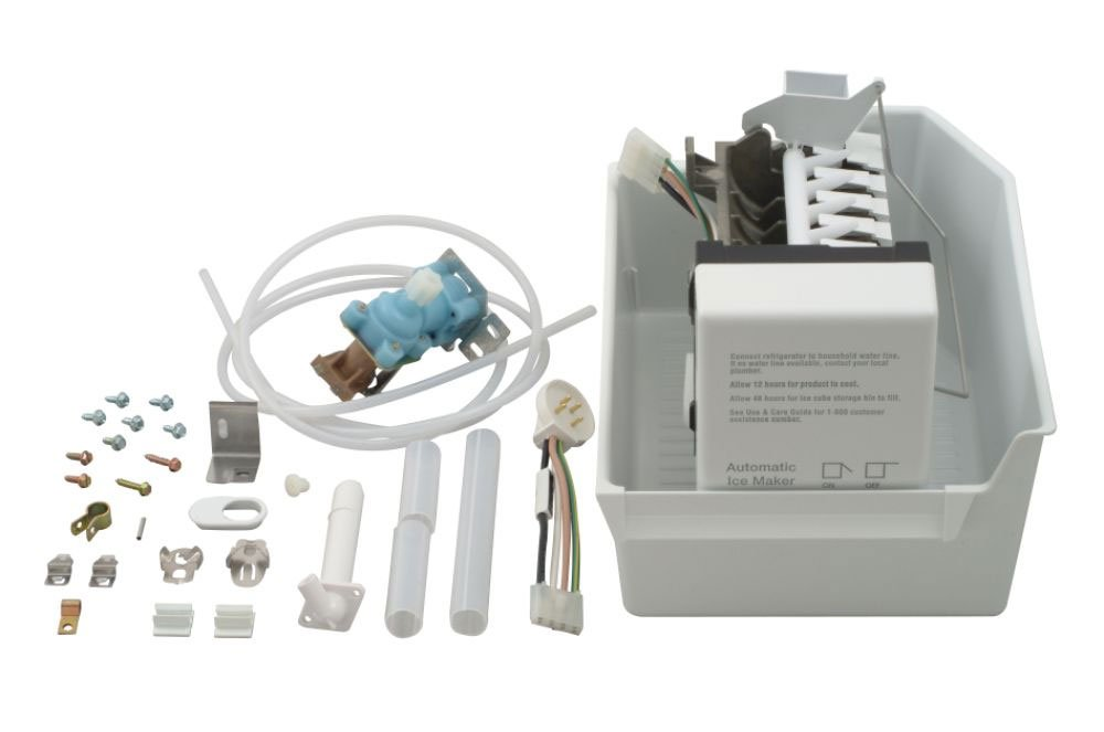 1129313 - OEM FACTORY ORIGINAL WHIRLPOOL KENMORE MAYTAG COMPLETE ICEMAKER ADD ON KITFor porcelain liner Whirlpool, Kitchen Aid, Roper, Estate and Kenmore (with model prefix 106) refrigerator models with 30, 33 and 36 inch wide cabinets. Incorporates round plug. Kit includes wiring harness, fill tubes, water valve, ice bin, hardware and instructions