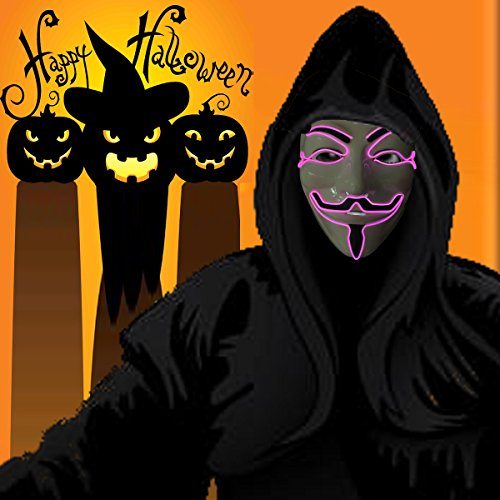Wireless masquerades masks / guy fawkes mask / halloween mask / light up mask / fawkes mask / Dj mask / wireless mask with on and flash pink by one size filled most face