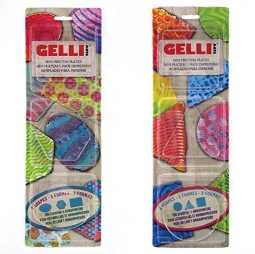 Gelli Arts Minis - Set of 6 Mini Gel Printing Plates (Round, Square, Triangle, Oval, Rectangle, & Hexagon) (Bundle) by Gelli Arts