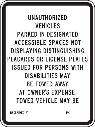 Accuform Signs FRA189RA Engineer-Grade Reflective Aluminum Handicapped Parking Sign (California), Legend