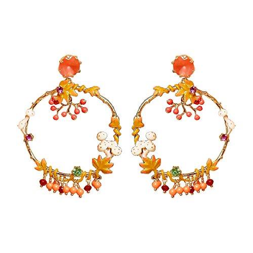 Ladies Exquisite Multi Enamel Mushroom Hoop, Sterling Silver Stud Earrings for Women, Vintage Real -
