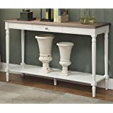 Convenience Concepts 6042187DFTW French Country Console Table with Drawer and Shelf, Driftwood/White