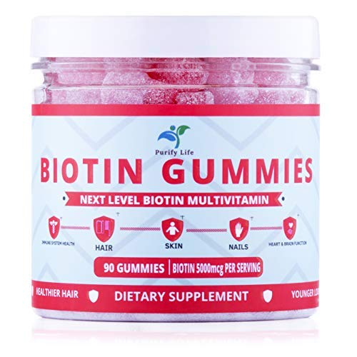 Premium Biotin Gummies for Hair Growth, Glowing Skin and Nails Strengthener |90ct| Pectin-Based Non-GMO Multivitamin Supplement for Men and Women with All Natural Ingredients - 5000 Mcg