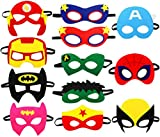 Kitticcino Super Heros Masks Cartoon Party Supplies Favors for Kids(12pcs), Children Cosplay Character Felt Masks Bday Party Dress -up