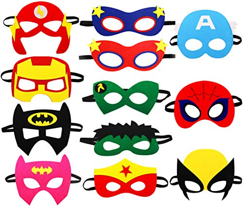 Cartoon Party Supplies Favors Heros Masks,Children Cosplay Character Felt Masks Party for Kids (12pcs)]()