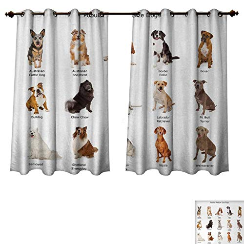 Price comparison product image Anzhouqux Dog Blackout Curtains Panels for Bedroom A Group of Different Puppy Breeds Family Type Species Dalmatian Husky Bulldog Image Print Decorative Curtains for Living Room Multi W52 x L63 inch