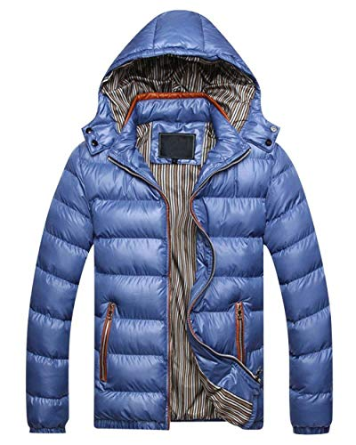 Adelina Men's Winter Jacket Quilted Down Warm Jacket Jacket with Hooded Slim Fit Outerwear Outdoor Jacket Coat Blau