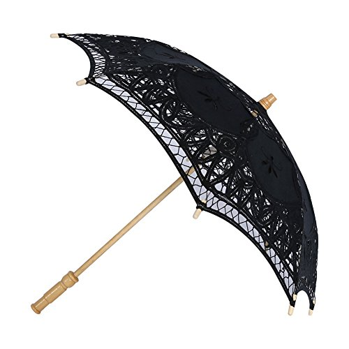 Lace Umbrella Handmade Embroidered Lace Sun for Wedding Decoration Photo Props Parasol ( Color : Black - Bridesmaid Parasols