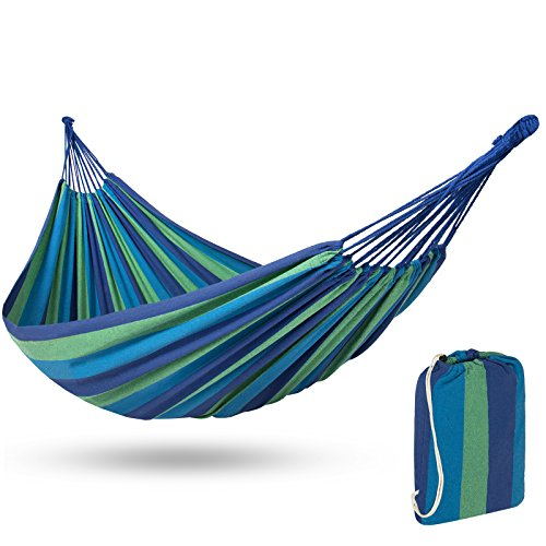 Best Choice Products 2-Person Brazilian Double Hammock Bed w/ Carrying Bag for Backyard, Patio, Indoor Outdoor Use, Cross-Woven Cotton Fabric for Comfort - Blue ()
