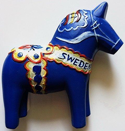 (Blue Swedish Dala Horse Sweden High Quality Resin 3D fridge Refrigerator Thai Magnet Hand Made Craft.)