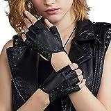 Fioretto Womens Driving Leather Gloves Fingerless Gloves Italian Genuine Goatskin Leather Half Finger Gloves Unlined Black
