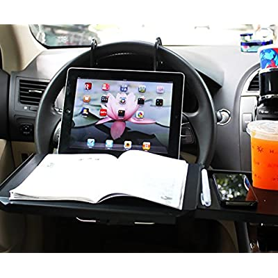 Zone Tech Multi-Functional Portable Car Seat Tray - Black Table/Car Vehicle Seat Portable Mount Tray Laptop Notebook Table Eating Desk Auto Food Drink Cup Holder with Extended Pull Type Small Table: Automotive