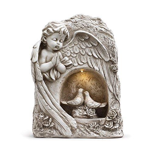 Resin Cherub - Napco Praying Cherub With Nesting Birds And Solar Panel 9 x 11.5 Resin Garden Figurine