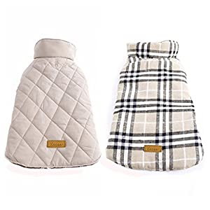 Kuoser Cozy Waterproof Windproof Reversible British style Plaid Dog Vest Winter Coat Warm Dog Apparel for Cold Weather Dog Jacket for Small Medium Large dogs with Furry Collar (XS - 3XL),Beige S