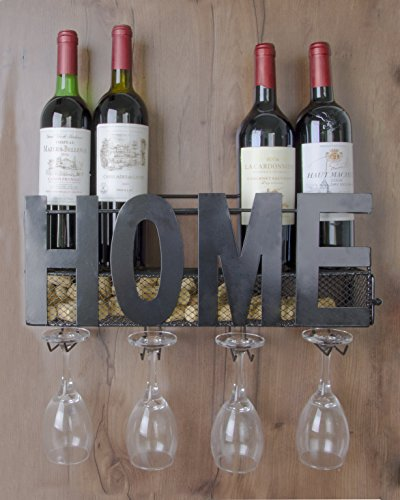 Zipcase Wall Mounted Metal Wine Rack Hold 5 Bottles & 4 Red Wine Glass & Wine Cork Storage & Wall Decorator by Zipcase
