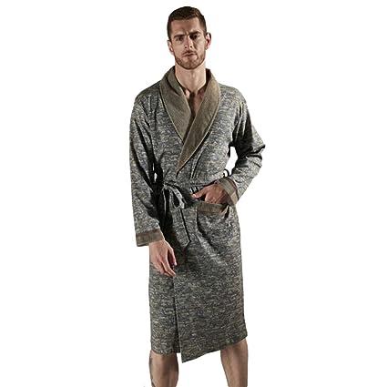 MERRYHE Mens 100% Algodón Terry Toalla Chal Collar Albornoz Waffle Kimono Bata Batas De Baño