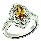 RB Gems Sterling Silver 925 Ring GENUINE GEMSTONE Marquise Shape 0.70 Carat with Rhodium-Plated Finish (6, citrine)