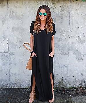Duolaam Vestido Suelto de Manga Corta para Mujer (Talla M), Color Negro