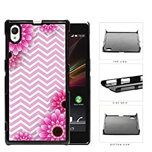 Pink and White Chevron Pattern with Pink Flower Daisy in Corners Background Sony Xperia Z1 Hard Snap on Plastic Cell Phone Case Cover by lolosakes