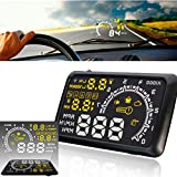 CHAMPLED 5.5 inch Car HUD Head Up Display OBD II Speeding Warning System Fuel Consumption Tw