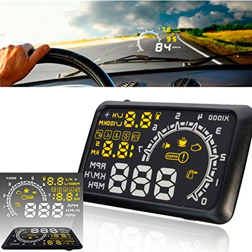 CHAMPLED 5.5 inch Car HUD Head Up Display OBD II Speeding Warning System Fuel Consumption Tw For FORD CHRYSLER CHEVY CHEVROLET DODGE CADILLAC JEEP GMC PONTIAC HUMMER LINCOLN BUICK