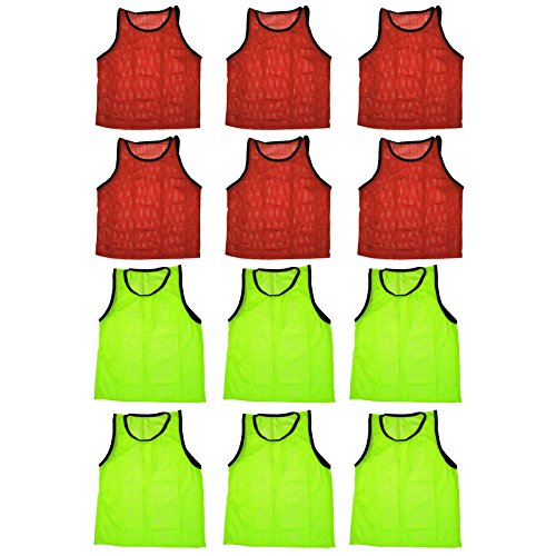 - BlueDot Trading Adult Sports Pinnie Scrimmage Training Vest, Combo Red/Yellow, 12 Pack