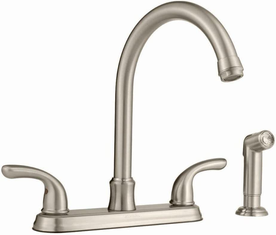 Glacier Bay 2 Handle Side Sprayer Kitchen Faucet In Brushed Nickel Touch On Kitchen Sink Faucets Amazon Com