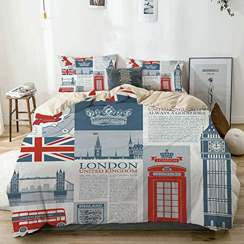CHASOEA Duvet Cover Set Beige,London United Kingdom Themed Landmarks and Flags,Decorative 3 Piece Bedding Set with 2 Pillow Shams Twin Size (London Themed Duvet Covers)