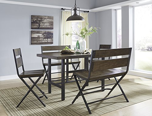 Kavara Medium Brown Color Rectangle Dining Room Counter Table W/ 2 Barstools And Two Double Barstools