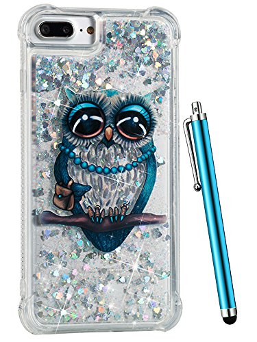 (iPhone 8 Plus Case Glitter, CAIYUNL Liquid Sparkle Bling Luxury Clear Cute Phone Cases Slim Cover TPU Girls Kid Men Shockproof for Apple iPhone 7 Plus/ iPhone 6S Plus/ iPhone 6 Plus &Stylus -Blue Owl)