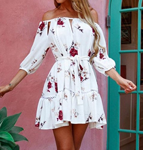 Long Comfy 1 Word Dress Sleeve Women's Tshirt Collar Printed Classic FrqwI67rxa