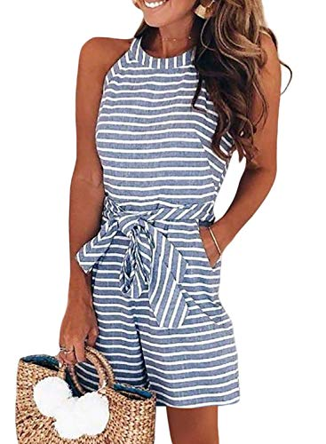 Dokotoo Womens Elegant Casual Fashion Summer Stripes Halter Neck Sleeveless Waist Belted Zipper Back Wide Leg Loose Jumpsuit Rompers Shorts Playsuit with Pockets Small Sky Blue