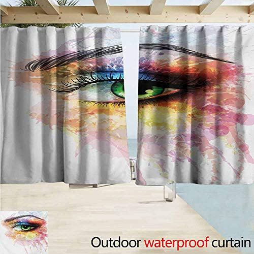 AndyTours Rod Pocket Curtains,Eye Young Womans Eye with Colorful Paint Splashes Grunge Artistic Hand Drawn Figure Print,Energy Efficient, Darkening,W63x45L Inches,Multicolor