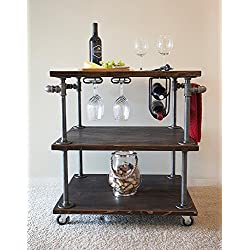 Wood 3-Tier Rolling Kitchen Cart, Food Service Carts,Iron dining car retro carts mobile dining car hotel dining car wood meal carts (1)