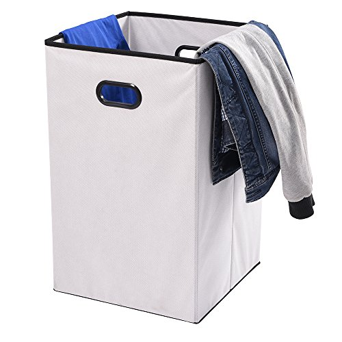 Foldable Laundry Hamper, MaidMAX 74-Liter Nonwoven Foldable Cloth Storage Cube with Dual Handles for Clothes Storage for Gift, White (Garden Furniture Foldable Wood)