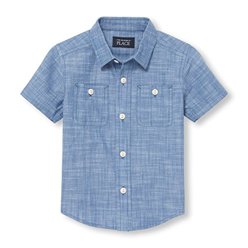 The Children's Place Baby Boys Short Sleeve Button up Shirt, Harborside 3785, (Infant Dress Shirts)