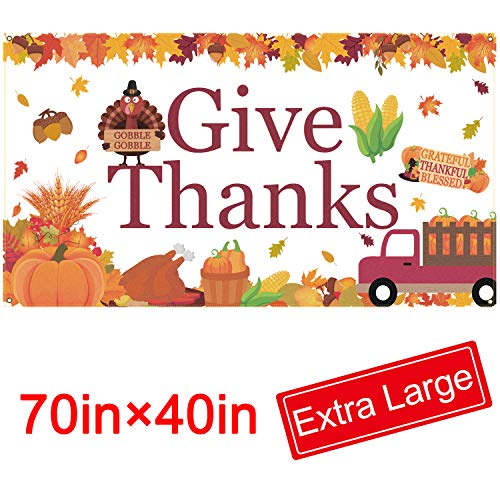 "Give Thanks Banner - Extra Large Fabric 70"" X 40"" - Thanksgiving Backdrop Banner - Fall Thanksgiving Party Decorations Supplies"