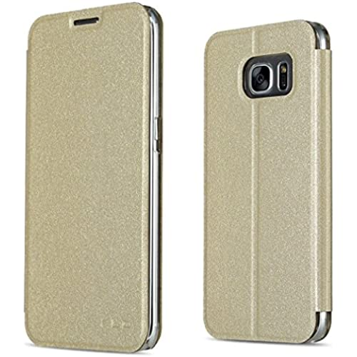 Samsung Galaxy S7 Case, CSTM Slim Flip Shell Case for Samsung Galaxy S7 Smartphone (Slim Book Series-Gold) Sales