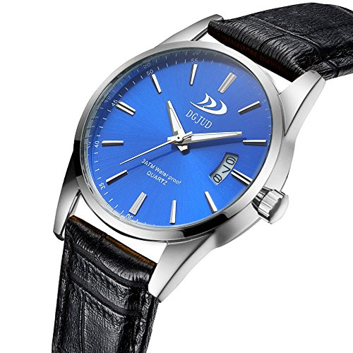 Linmkey Trendy Men Military Sport Leather Casual Stainless Steel Quartz Wrist Watch Watch Gift Table Analog Military Watches