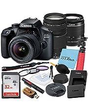$584 » Canon EOS 4000D / Rebel T100 DSLR Camera 18-55mm & 75-300mm Lens Kit + SanDisk 32GB Memory Card, Tripod, 3 Pieces Filter (UV, CPL, FLD) + ZeeTech Accessory Bundle