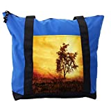 Lunarable Africa Shoulder Bag, Big Tree Silhouette Africa, Durable with Zipper