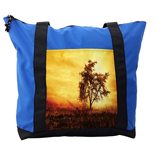 Lunarable Africa Shoulder Bag, Big Tree Silhouette Africa, Durable with Zipper by Lunarable