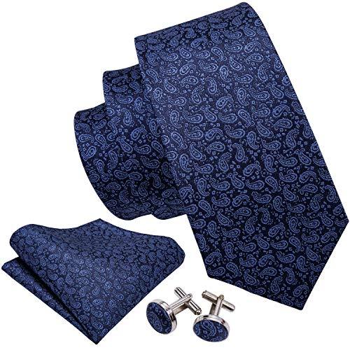 Barry.Wang Paisley Ties Set Pocket Square Cufflinks Plain Neckties Classic Dark Blue
